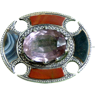 Edwardian Sterling Silver, Large Amethyst and Agate Signed Brooch
