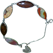 Victorian Scottish Agate and Silver Child's Bracelet with Heart-Shaped Locket