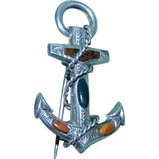 Victorian Mid-19th Century Silver and Agate Fouled Anchor
