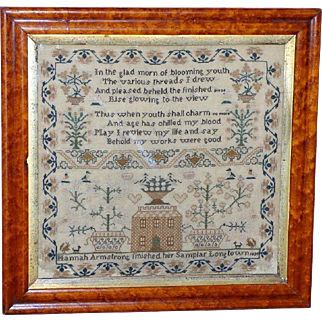 Early Victorian Silkwork Sampler with Large House, Verse and Flowering Jardinières