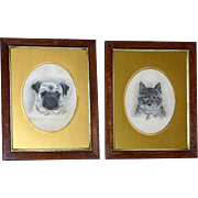 Pair of Edwardian Portraits of a Cat and Her Pug Companion - Red Tag Sale Item