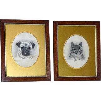 Pair of Edwardian Portraits of a Cat and Her Pug Companion