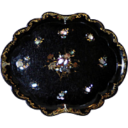 Victorian Mid-19th Century Large Papier Mache Shaped Tray Inlaid with Mother-of-Pearl