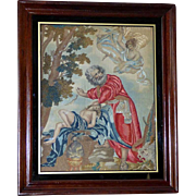 Large Early 19th Century Silkwork and Woolwork Embroidery Depicting the Sacrifice of Isaac