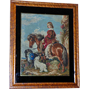 Large Victorian Mid-19th Century Woolwork of Young Boy with Pony and Dogs