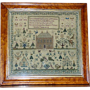 Early 19th Century Georgian Silk on Linen Sampler with Large House, Dated 1827