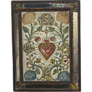 Early 18th Century Italian Silk Needlework Picture of the Sacred Heart Decorated with Spangles and Gilt Metal Thread