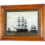 "19th Century Reverse-Painted Silhouette on Glass of the Ship, HMS ""Royal Sovereign"""