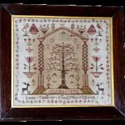 Early 19th Century Schoolboy Folk Art Sampler Depicting Adam and Eve