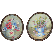Pair of Rare Oval Early 20th Century Miniature Flower Paintings