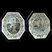 Pair of 18th Century George III Silkwork Embroideries