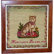 Victorian 19th Century Woolwork Pictorial Sampler of a Seated Dog