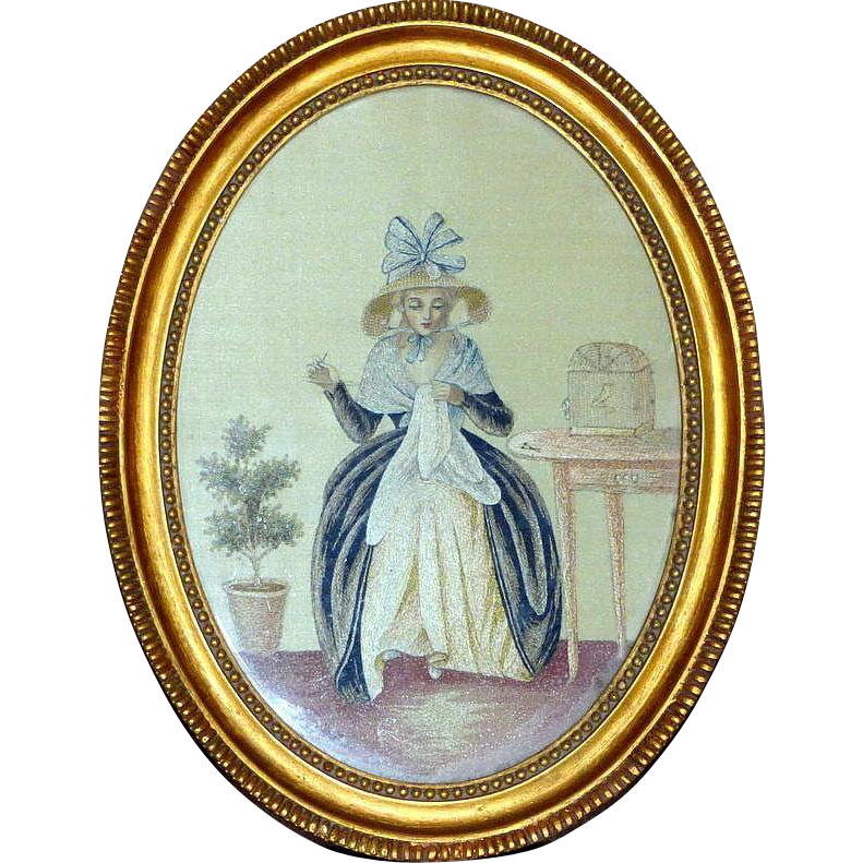 Rare Early 19th Century Georgian Silkwork of a Lady Sewing