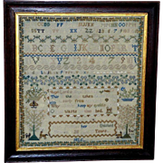 Georgian Silkwork Alphabet and Verse Sampler, Dated 1825