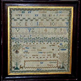 Georgian Silkwork Alphabet and Verse Sampler, Dated 1825