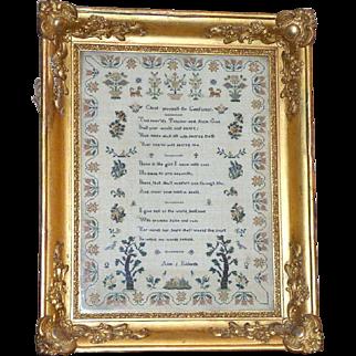 Early Victorian Verse and Motif Sampler in Ornate Original Gilded Frame