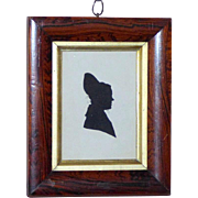 Early Victorian 19th Century Hand-Cut Silhouette Portrait in Rosewood Frame