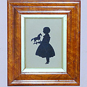 Early Victorian 19th Century Cut Silhouette of a Child with Toy Horse
