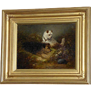 Victorian Painting of Terriers Chasing a Hedgehog, by George Armfield