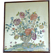 Superb Victorian 19th Century Silkwork Embroidery of Flowers in a Vase