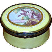 Rare Yellow Battersea Bilston Enamel-on-Copper Box with Doves and Nest