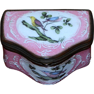 Late 18th Century Battersea Bilston Pink Enamel Patch Box with Colorful Birds