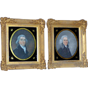Pair of Early 19th Century Portraits of a Father and Son in Original Irish Frames