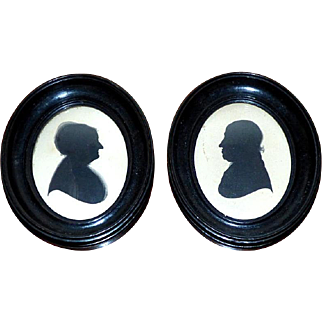 Pair of Early 19th Century Georgian Named Husband and Wife Silhouettes