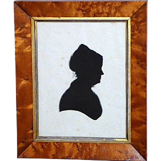 Early 19th Century Hand-Painted Silhouette of a Lady