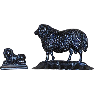 Victorian Mid-19th Century Cast Iron Sheep and Lion Chimney Ornaments