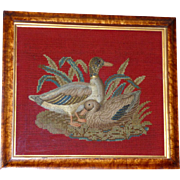 Rare Victorian Mid-19th Century Padded Woolwork Embroidery of Two Ducks