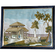 Early 19th Century French Silk Embroidery Depicting Sheep in a Farmyard