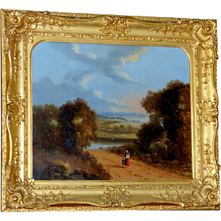 Early 19th Century Landscape with Figures on a Path in Its Original Ornate Frame, by Reverend Robert Woodley-Brown