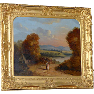 Early Victorian River Landscape with Figures near a Cottage in Its Original Ornate Frame, by Reverend Robert Woodley-Brown