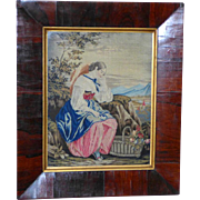 Victorian Pettipoint Woolwork of a Maiden with a Basket of Flowers