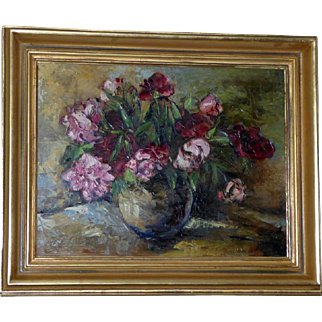 Still Life of Peonies, by Alfred Schwager-Crimoso
