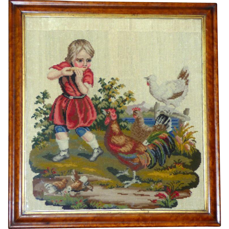 Victorian 19th Century Rare Woolwork of Child with Chickens