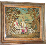 Georgian Early 19th Century Silkwork and Woolwork Picture in the Manner of George Morland