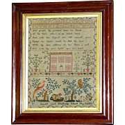 William IV Early 19th Century Sampler with Dog and Other Delightful Motifs