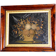 Rare, Exceptional Early Victorian Raised Embroidery and Applique Work with Gathered Flowers in a Silkwork Basket in Its Original Rosewood Frame