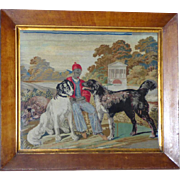 Rare Early Victorian Woolwork with Dogs in a Formal Garden Setting