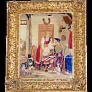 Early Victorian Pettipoint Scottish Family Scene in Original Ornate Frame