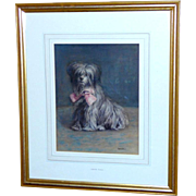 "Watercolor Portrait of the Dog, ""Raggs,"" by Edith Teall"