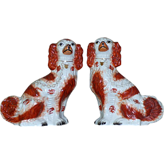 Pair of Victorian Mid-19th Century Staffordshire Comforter Spaniel Dogs