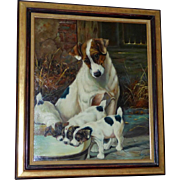 A Continental Portrait of a Jack Russell Terrier and Her Puppies