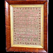 Scottish Schoolgirl Alphabet Sampler in Original Frame, Dated 1830