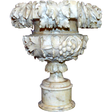 Early 20th Century Italian Alabaster Hand-Carved Urn