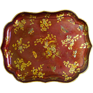Large Early Victorian 19th Century Red Papier Mache Tray with Gilded Decorations