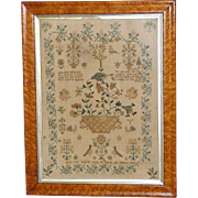 Early Victorian 19th Century Silkwork Sampler with Basket of Flowers