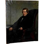 Very Large Mid-19th Century Portrait of a European Gentleman Seated in a Large Armchair, by Charles Augustin Wauters